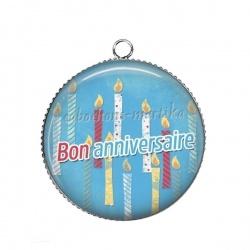 Pendentif Cabochon Argent - bon anniversaire