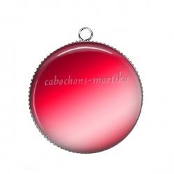 Pendentif Cabochon Argent - uni rouge