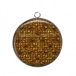 Pendentif Cabochon Argent - doré orange carreau