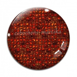 Cabochon Verre - uni rouge carreau