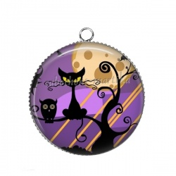 Pendentif Cabochon Argent - chat Halloween