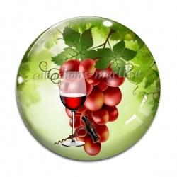 Cabochon Verre - raisin verre et tire bouchon