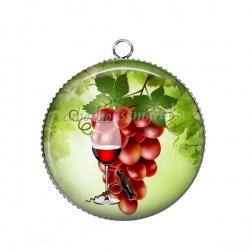 Pendentif Cabochon Argent - raisin verre et tire bouchon