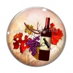 Cabochon Verre - raisin tire bouchon et bouteille
