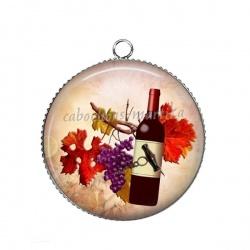 Pendentif Cabochon Argent - raisin tire bouchon et bouteille