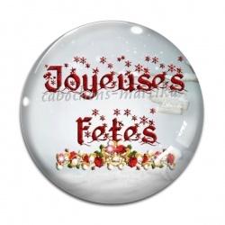 Cabochon Verre - joyeuses fêtes