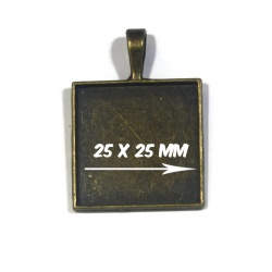 1 pendentif support cabochon 25 x 25 mm bronze