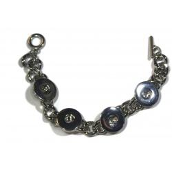 1 bracelet pour bouton pression métal argent