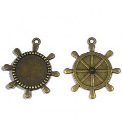 2 supports cabochons roue de bateau