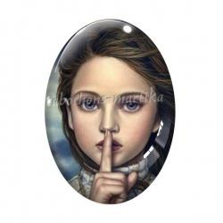 Cabochon Verre Ovale - jeune fille