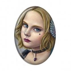 Cabochon Résine Ovale - jeune fille