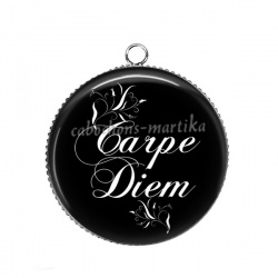 Pendentif Cabochon Argent - carpe diem