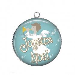 Pendentif Cabochon Argent - joyeux noël