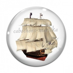 Cabochon Verre - bateau