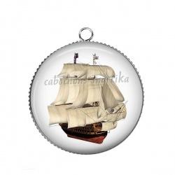 Pendentif Cabochon Argent - bateau