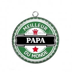 Pendentif Cabochon Argent - meilleur papa du monde
