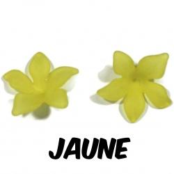 10 perles fleurs  27 mm jaune