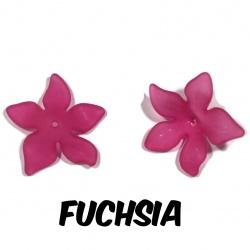 10 perles fleurs  27 mm Fuchsia