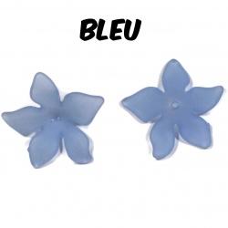 10 perles fleurs  27 mm bleu