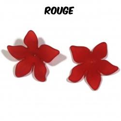 10 perles fleurs  27 mm rouge