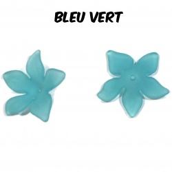10 perles fleurs  27 mm bleur vert