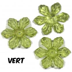 10 perles fleurs  27 mm  vert
