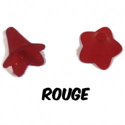 10 perles fleurs rouge