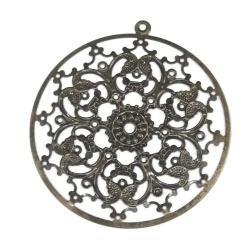 Grand pendentif 64 mm filagramme métal bronze