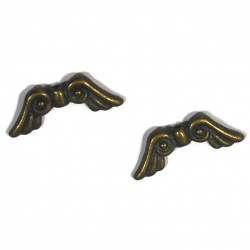 5 Perles ailes métal bronze