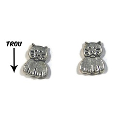 5 perles chat métal argent