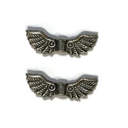 5 Perles ailes métal argent