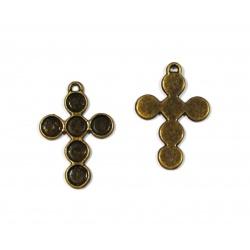 breloque croix métal bronze