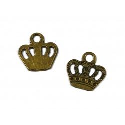 breloque couronne métal bronze