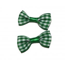 10 nœuds tissus vichy vert et blanc