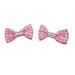 10 nœuds tissus vichy rose et blanc