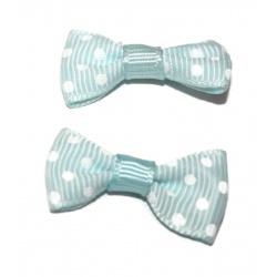 10 nœuds tissus pois bleu et blanc