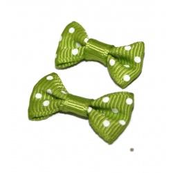10 nœuds tissus pois vert et blanc