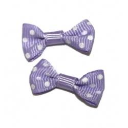 10 nœuds tissus pois violet et blanc