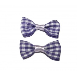 10 nœuds tissus vichy violet et blanc