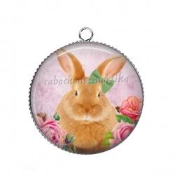 Pendentif Cabochon Argent - lapin