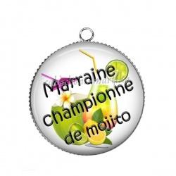 Pendentif Cabochon Argent - marraine championne de mojito