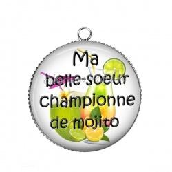 Pendentif Cabochon Argent - ma belle-soeur championne de mojito