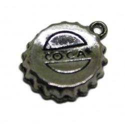 breloque capsule bouteille métal argenté