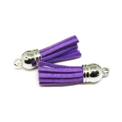 Pompon suédine 3,5 violet