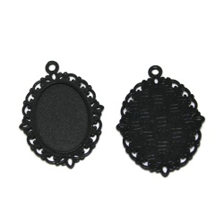 1 pendentif support cabochon métal noir