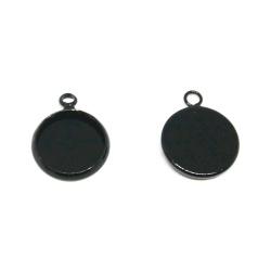 1 pendentif support cabochon 12 mm métal noir