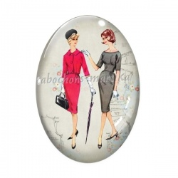 Cabochon Verre Ovale - femme