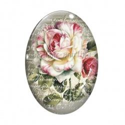 Cabochon Verre Ovale - fleur