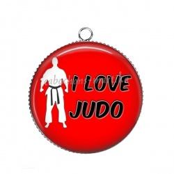 Pendentif Cabochon Argent - i love judo