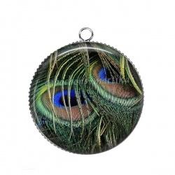 Pendentif Cabochon Argent - plume de paon
